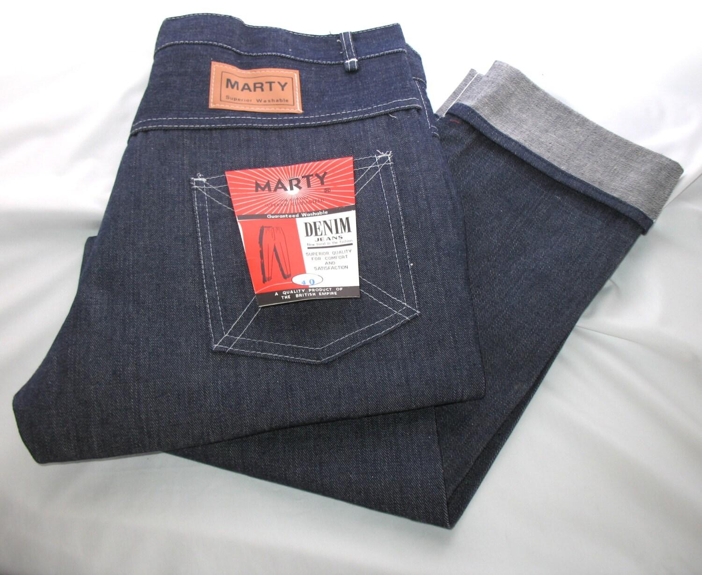 Vintage 1960s Mens Denim Jeans Rockabilly Turn Up Cuff Never