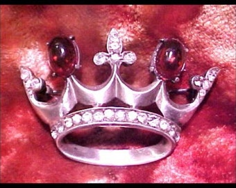Brilliant Sterling Silver Crown Brooch Pin Cabochon and Rhinestones  12.6 grams Free Shipping