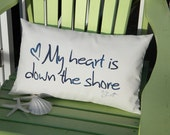 "Outdoor pillow My Heart Is Down the Shore 12""x20""  New Jersey Hurricane Sandy free shipping to NJ Crabby Chris"