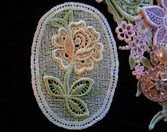 Rose Flower Hand Dyed Venise Lace Crazy Quilt Scrap Book Mixed Media Applique Embellishment