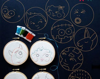 Hoop Faces KIds Stitchery Pattern