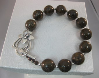 Bronzite Beaded Sterling Clasp Bracelet