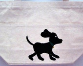 running black puppy - hand painted tote bag