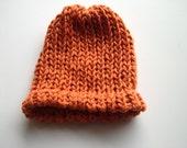 Organic cotton pumpkin orange hat 0-3 months