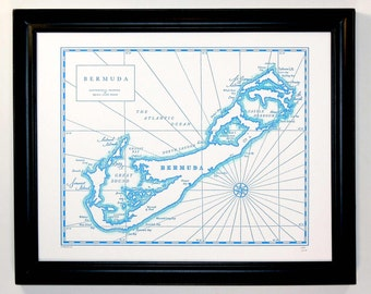 Bermuda, Letterpress Printed Map