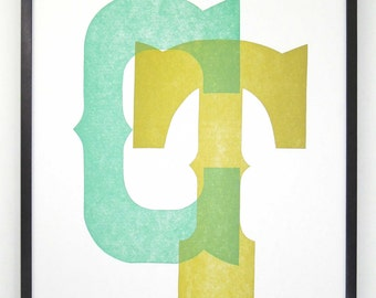 Connecticut, CT, Letterpress Typographic Print