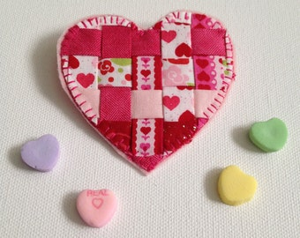 Valentines Day Fabric Jewelry, Heart Pin, Valentines Gift, Handmade Textile Jewelry, Fashion Jewelry, Handcrafted Jewelry