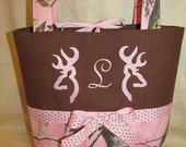 Purse, Pocketbook, shoulder bag Pink realtree camo purse buck deer pink realtree brown purse - pocketbook - shoulder bag you choose letter