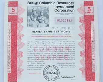 British Columbia Resources Investment Corp Share Certificate 1979