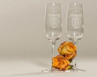 Damask Design Personalized Wedding Toasting Glasses and Serving Set
