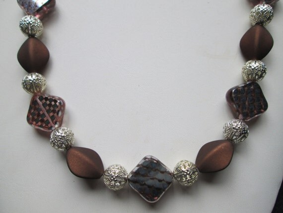Brownie Points Diva Necklace  - Brown Velveteen Beads - Pewter Beads - Czech Brown & Silver Czech Glass - Classy