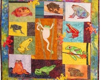 Leapfrogs, a Machine Applique Pattern by Debora Konchinsky, Critter Pattern Works