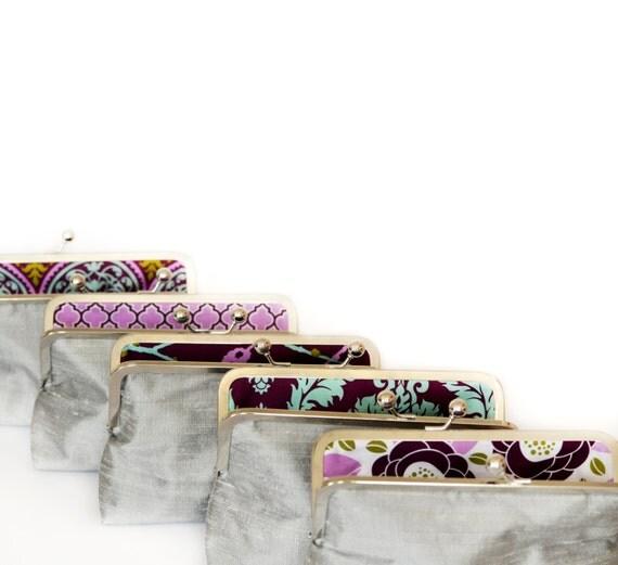 Custom Silk Silver Bridesmaid Clutch Gift Bridesmaids Bag Wedding Purse by Lolis Creations