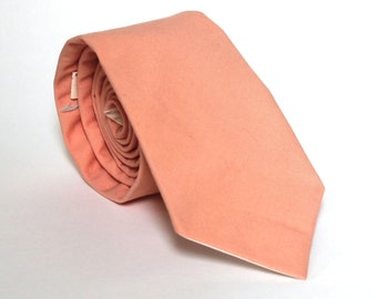 Men's Tie - Solid Peach - Medium Peach Necktie