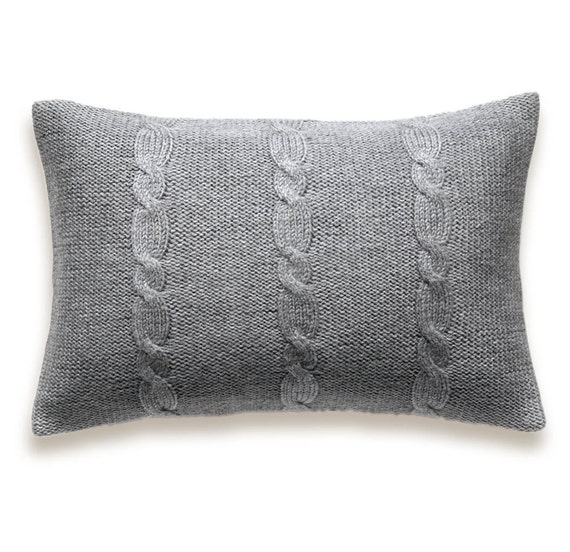 Decorative Cable Knit Pillow Cover In Grey 12 x 18 inch Textured Wool Cotton