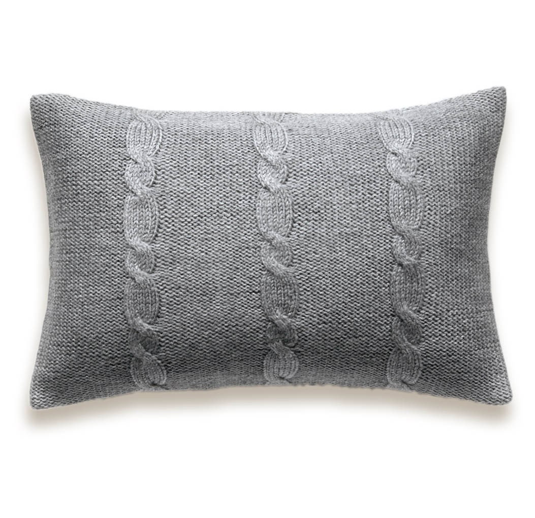 12 Inch Throw Pillow Covers : Decorative Cable Knit Pillow Cover In Grey 12 x 18 inch