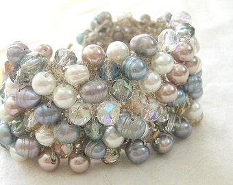 Freshwater Pearl Crystal Bridal Cuff Bracelet, MISTY WINTER, Frosty Blue, Green Gray, Taupe, Ivory White, Hand Knit, Sereba  Designs, Etsy