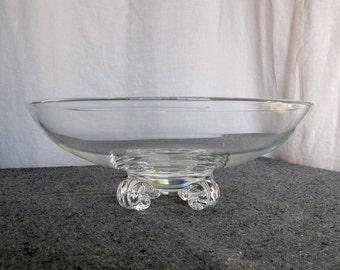 Steuben Glass Bowl Signed Large Art Deco Crystal Art Glass 1940s John Dreves Scroll Feet