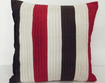 brown red and offwhite stripe cushion cover in size 16x16 inches-pleated stripes in multi colour