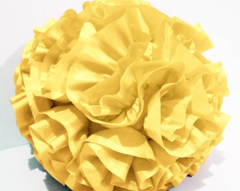 Yellow Round Pouf-Handmade-Ruffled Pillow-Decorative Pillow-Gift for Her-Christmas Gift-wedding Gift-Throw Pillow