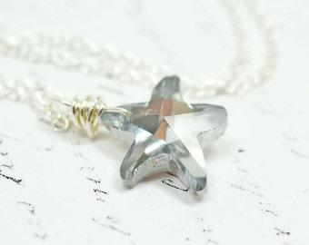 Metallic Silver Starfish Necklace, Swarovski Crystal Sea Star Fish, Beach Wedding Nautical Jewelry