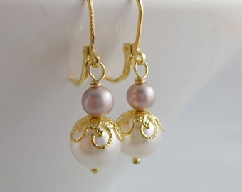 Bridesmaid earrings Bridal party gift Maid of honor gift Wedding jewelry Swarovski pearls Gold Clip Ons Champagne bronze brown pearls