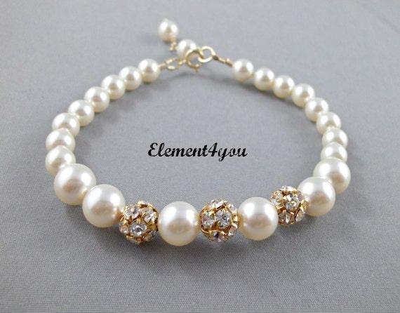 Bridal bracelet Gold Bridesmaid gift Swarovski ivory champagne Peach Grey pearls, Gold Rhinestone ball, Wedding jewelry, Maid of honor gift