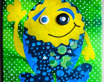 CLEARANCE - Lil Monster - Fabric collage wall art - Ready to Hang