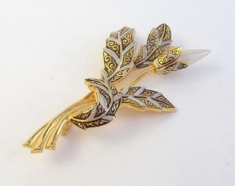 Large Brooch Damascene Style with Faux Pearl Vintage
