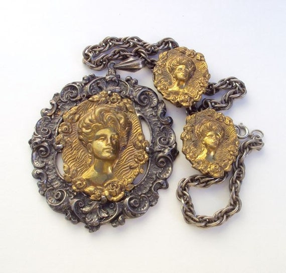 Vintage Large Cameo Necklace and Clip Earrings of Stamped Brass c. 1960s 60s Demi Parure