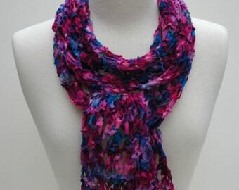 Merino Scarf- Hand Knit- Rose/Merlot/Sapphire/Turquoise