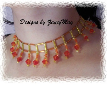 Fire Opal Necklace Pattern, Beading Tutorial in PDF