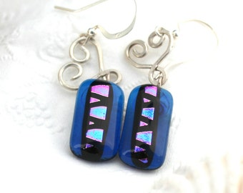 Sterling Silver Heart and Purple Cobalt and Pink Fused Glass Dangle Earrings, Dichroic Dangle, Dichroic Earrings with Silver Wire Wrap Hear