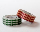 MT 2013 S/S NEW- Japanese Washi Masking Tape SINGLEs / Diamonds in Viridian Green & Vermillion Red at your choice