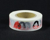 Discontinued-Japanese Washi Masking Tapes / Traditional Japanese Design-Okame Mask & Fish 18mm wide for holiday packaging, Japanese gift