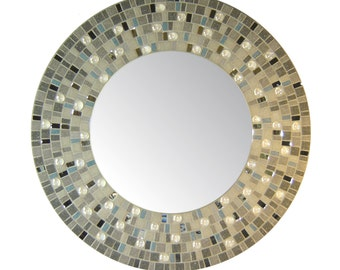 Round Mosaic Mirror - Gray, Silver, & Blue/Gray