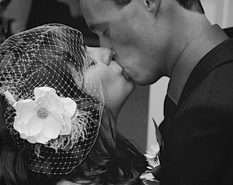 Vintage inspired Birdcage Veil and  Detachable Bridal Fascinator Blusher hair flower Wedding Reception -Evelyn