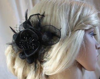 Black Hair flower wedding party hair clip or comb wedding headpiece  Fascinator