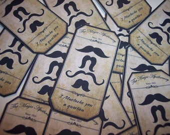 Mustache You a Question Steampunk  Apothecary Labels Set of 12