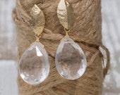 Bridesmaids Earrings: Leaf Shaped Crystal Quartz Briolette | Drop Earrings | Quartz Jewelry | Bridal Earrings | Custom Handmade | Dainty