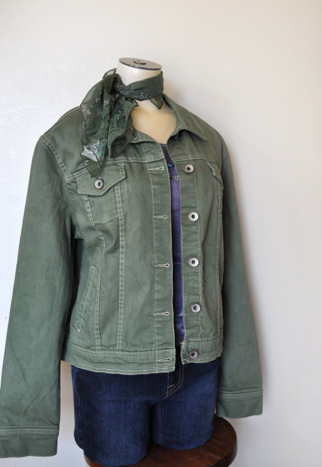 Women's Denim JACKET Sage Green Hand Dyed Upcycled