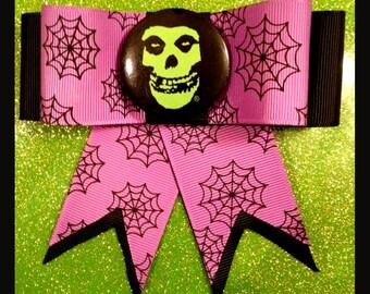Misfit Skull Pin Purple Spiderweb Hair Bow Clip