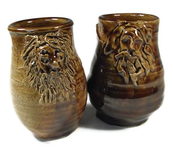 Two Bearded Man Cups Medieval Bartmann Bellarmine style - SALE