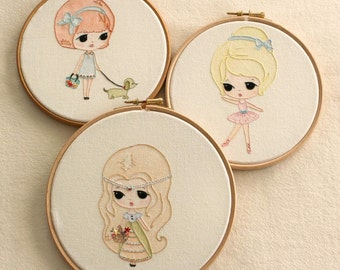 Set of Three Embroidery pdf Patterns - Ballerina, Princess and Walking the Dog - Instant Download