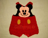 Mickey Mouse Shortall, Overall shorts, Buttons at Legs for Easy Change-INSTANT DOWNLOAD Crochet e-Pattern