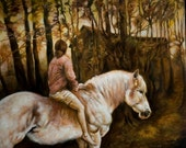 Rider at dusk- original large oil painting on canvas-- by Julia Stiles--horse, equine art