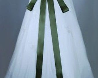 """Moss Green 2"""" 50 mm Double Faced Satin Ribbon Wedding Gown Sash"""