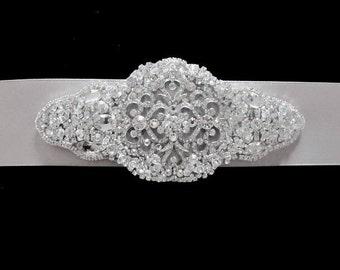 Wedding Bridal Jeweled Beaded Embellished Crystal Brooch Sash Belt