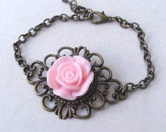 Pink Rose Bracelet in Filigree Brass, Pink Bracelet, Victorian Bracelet,