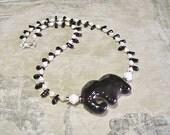 Black Kazuri Elephant Necklace